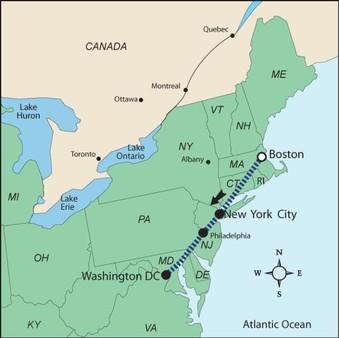 Boston Cartina Stati Uniti.Tour In Treno Boston New York Philadelphia Washington Stati Uniti D America Aternum Viaggi Tour Operator Agenzia Viaggi Pescara