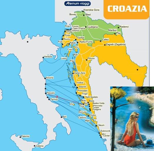 Italia Croazia Cartina.Croazia Aternum Viaggi Tour Operator Agenzia Viaggi Pescara